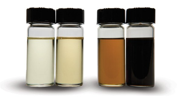 Oil in sample bottles displaying darkening that may be an indicator of oxidation