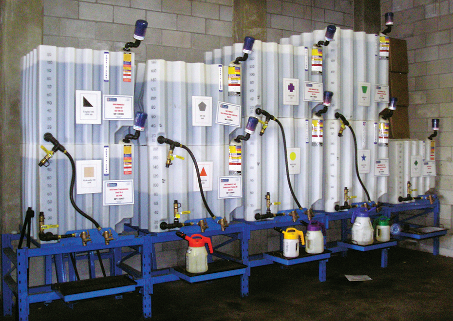 A lubrication storage room with desiccant breathers and sealed transfer containers.